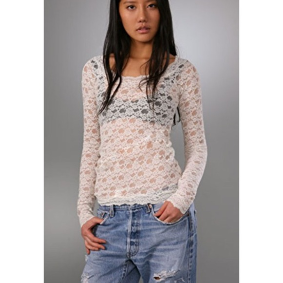 090f8200265003 Free People Tops - Free People Grey silver lace mesh long sleeve top